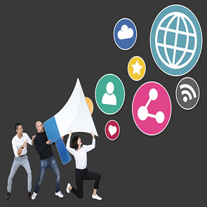 People with a megaphone and social media marketing icons